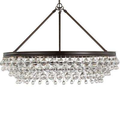 Calypso 6-Light Crystal Teardrop Bronze Chandelier