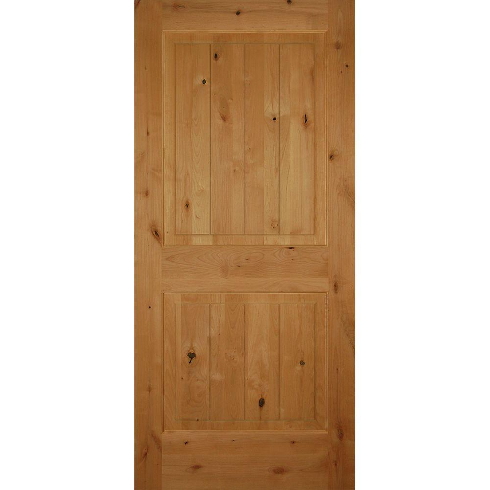 Builders choice 36 in x 80 in 2 panel square top v for Prehung interior wood doors