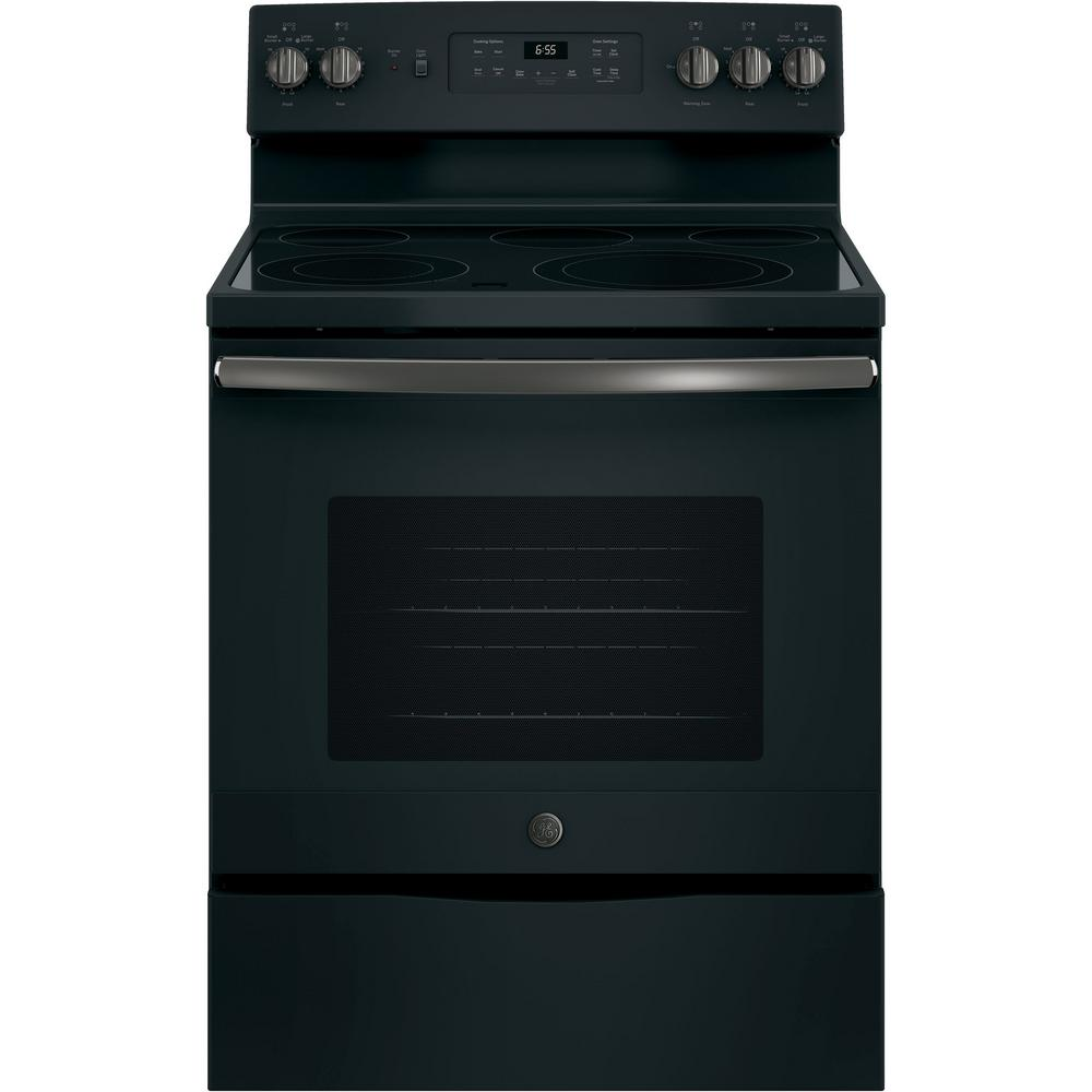 GE 30 in. 5.3 cu. ft. Electric Range with Self-Cleaning Convection Oven Black Slate, Fingerprint Resistant