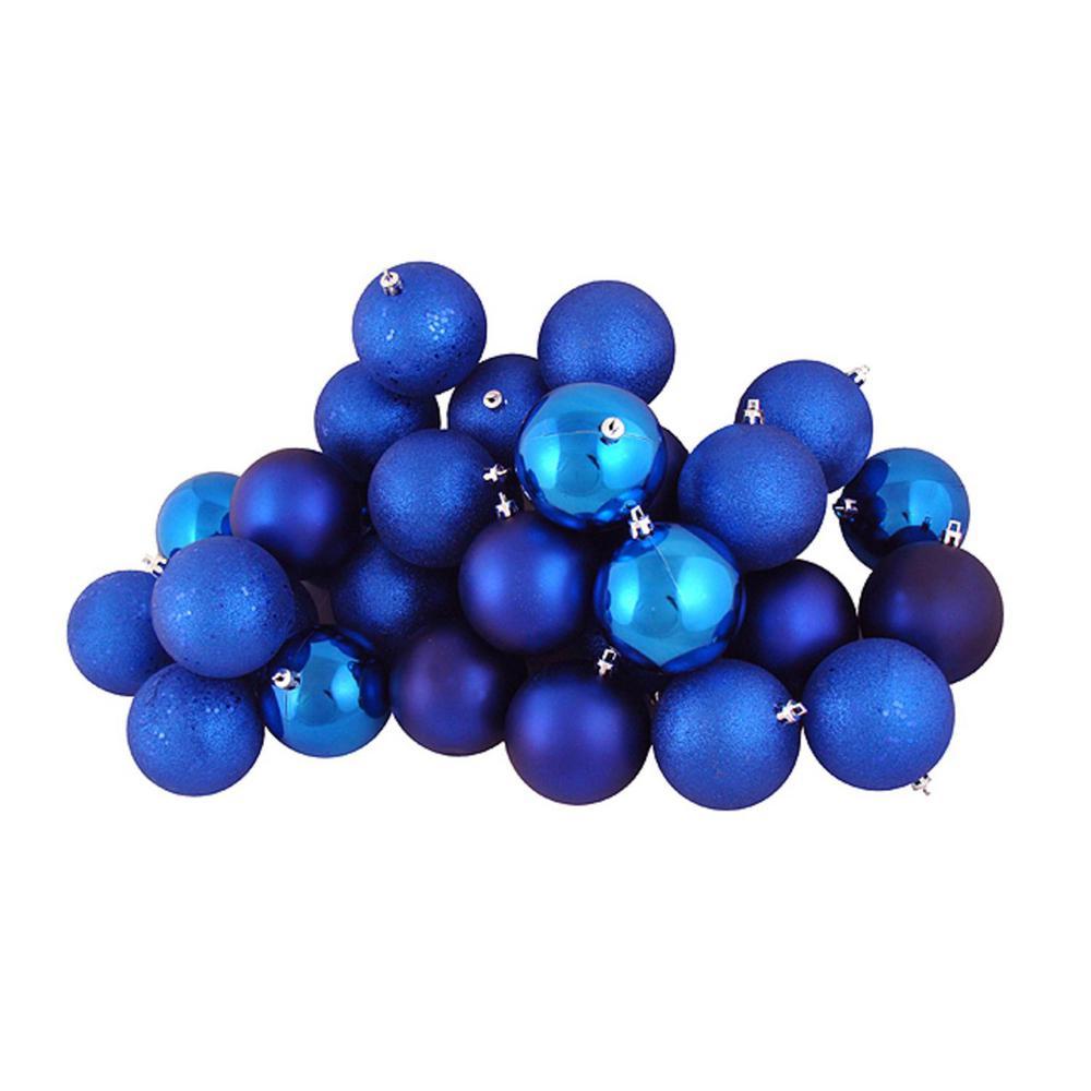 Shiny Lavish Blue Shatterproof Christmas Ball Ornaments (60-Count)