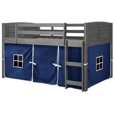 Antique Grey Twin Louver Low Loft Bed with Blue Tent Kit