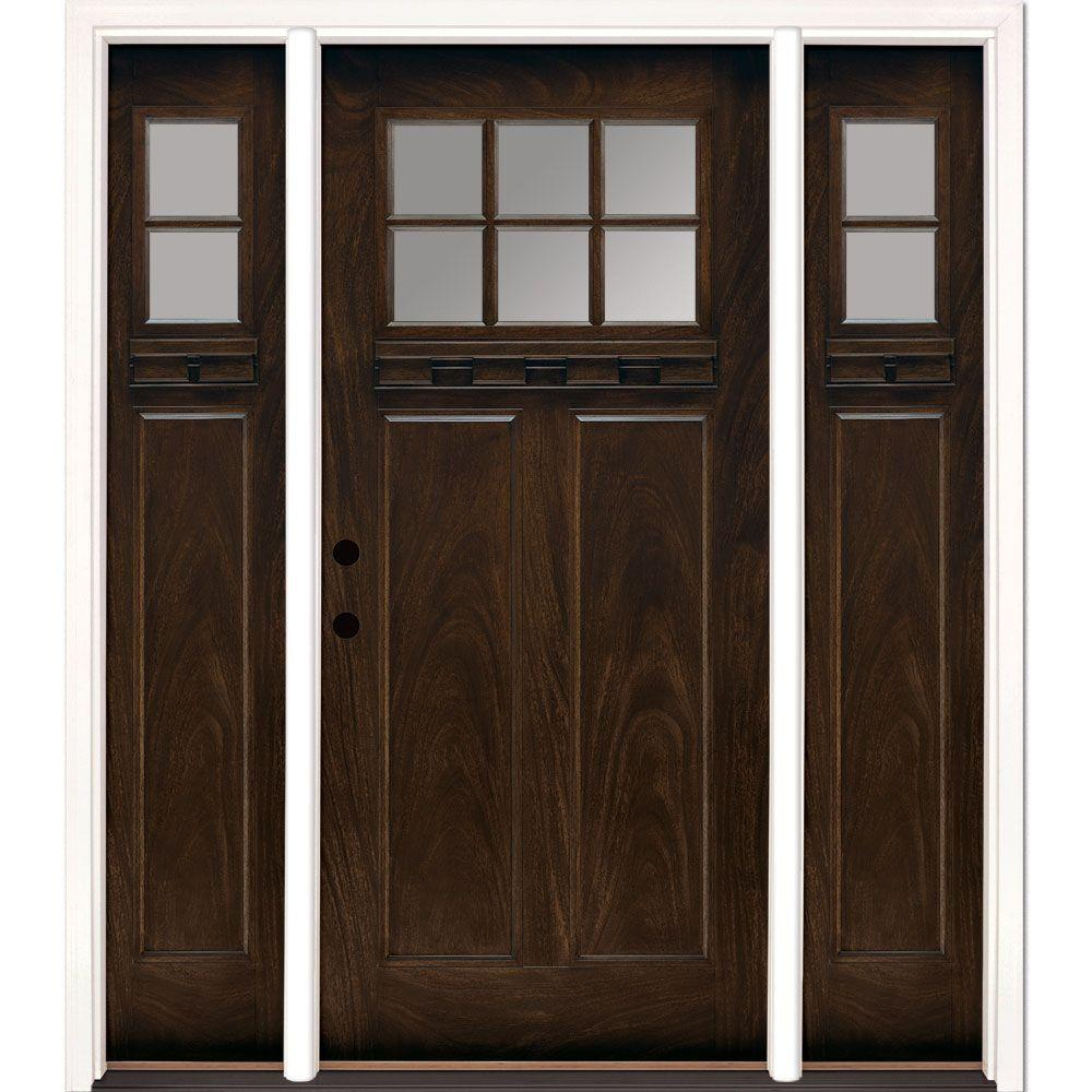 Farmhouse front doors exterior doors the home depot 635 inx81625 in 6 lt clear craftsman stained chestnut mahogany right planetlyrics Gallery