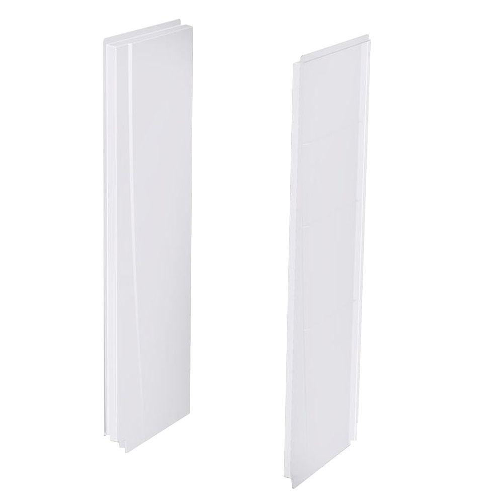 A2 5 in. x 27 in. x 74 in. 2-piece Direct-to-Stud Alcove Shower Wall Panels in White