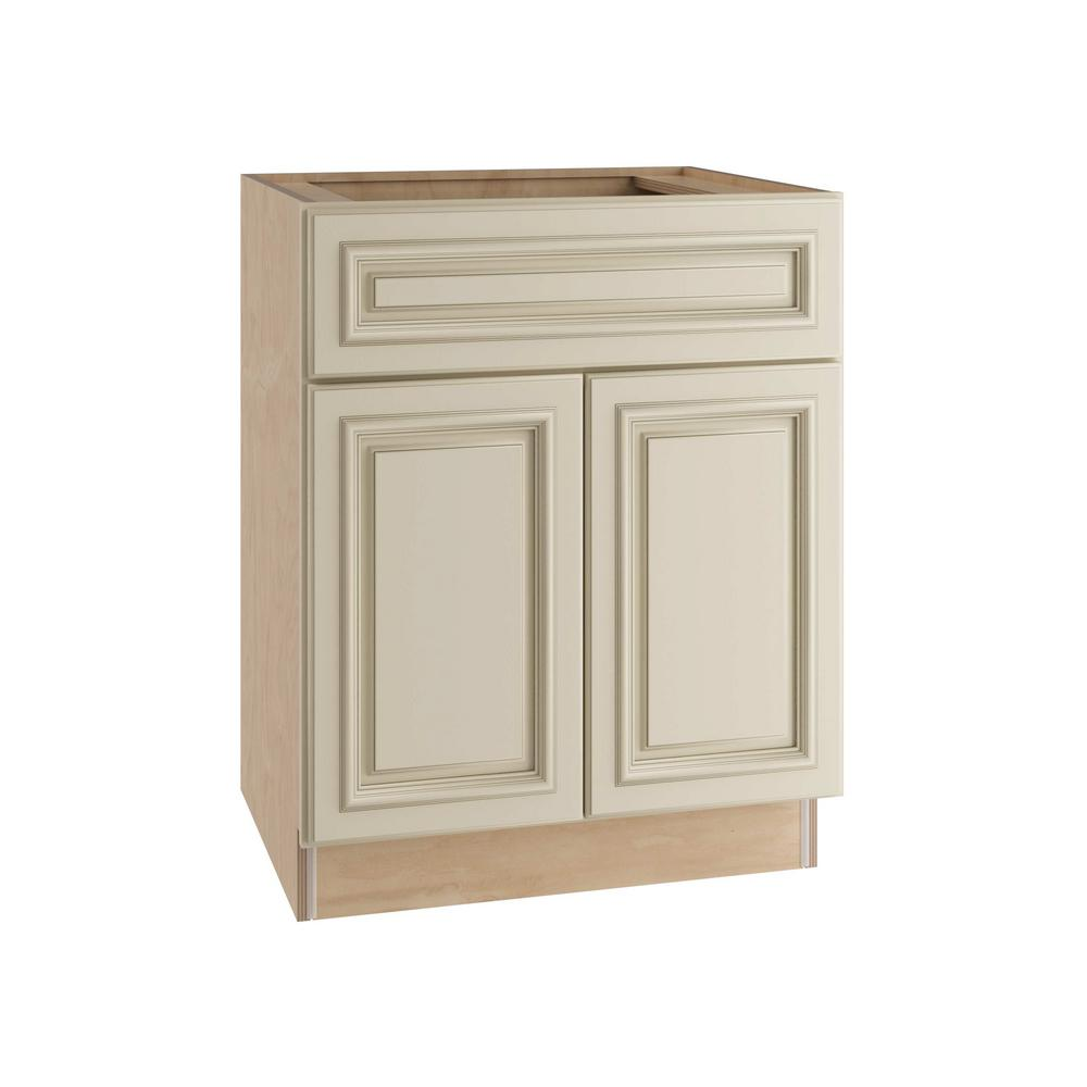 Home Decorators Collection Holden Assembled 30x34.5x24 in. Double Door Base Kitchen Cabinet, Drawer & Rollout Tray in Bronze Glaze