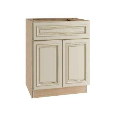 Holden Assembled 30x34.5x24 in. Double Door Base Kitchen Cabinet, Drawer & 2 Rollout Trays in Bronze Glaze