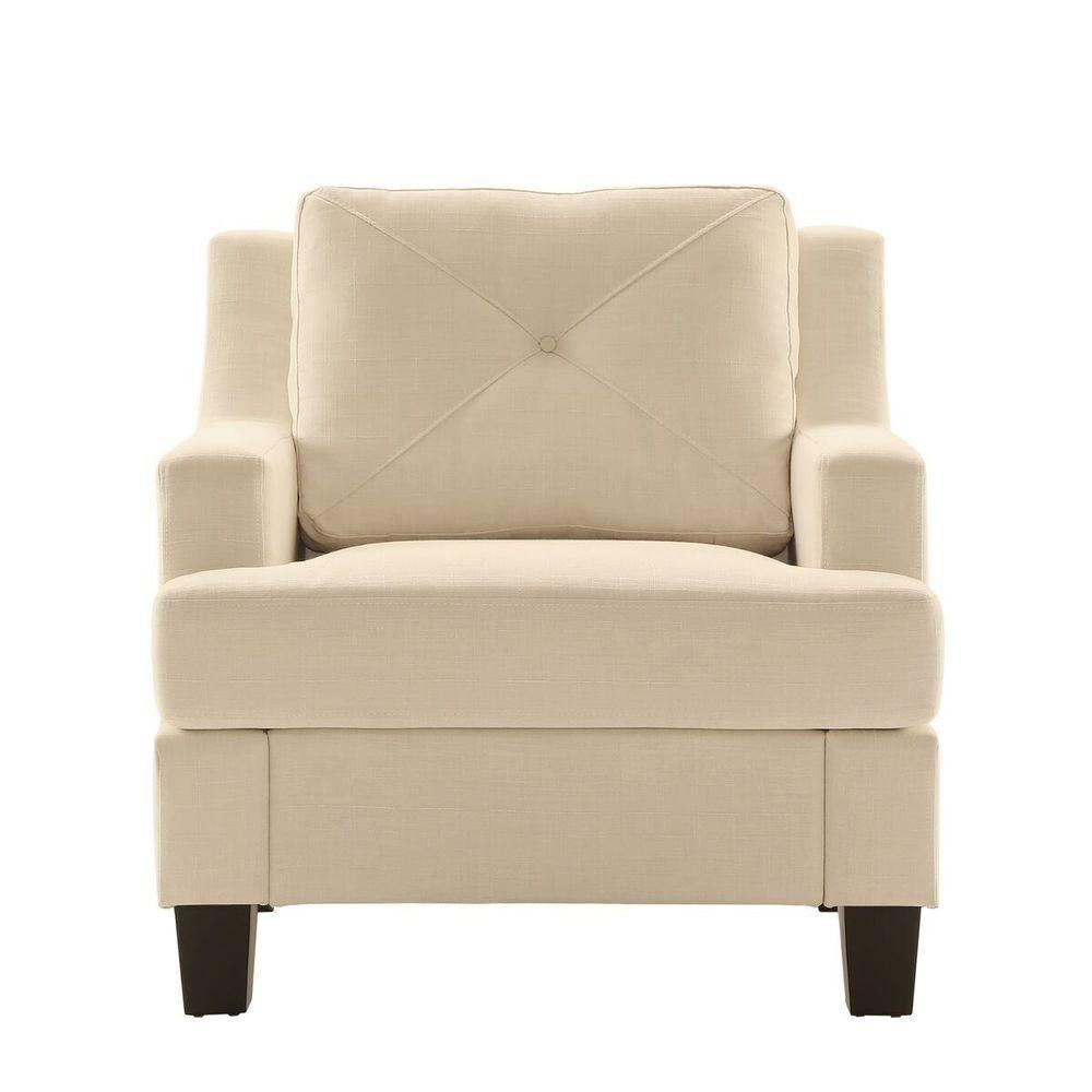 Emerson White Linen Arm Chair