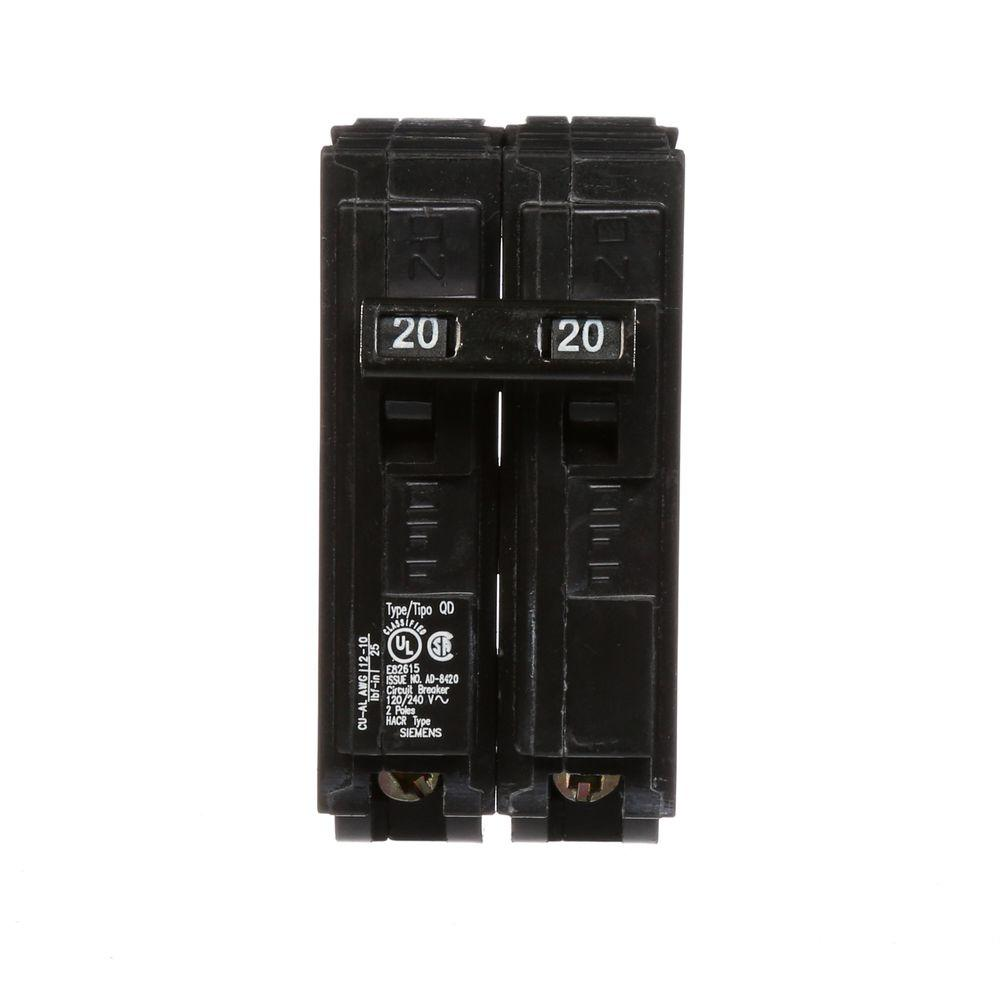 Siemens 20 Amp Double Pole Type Qd Replacement Circuit Breaker D220 Murray 2 In Doublepole Gfci