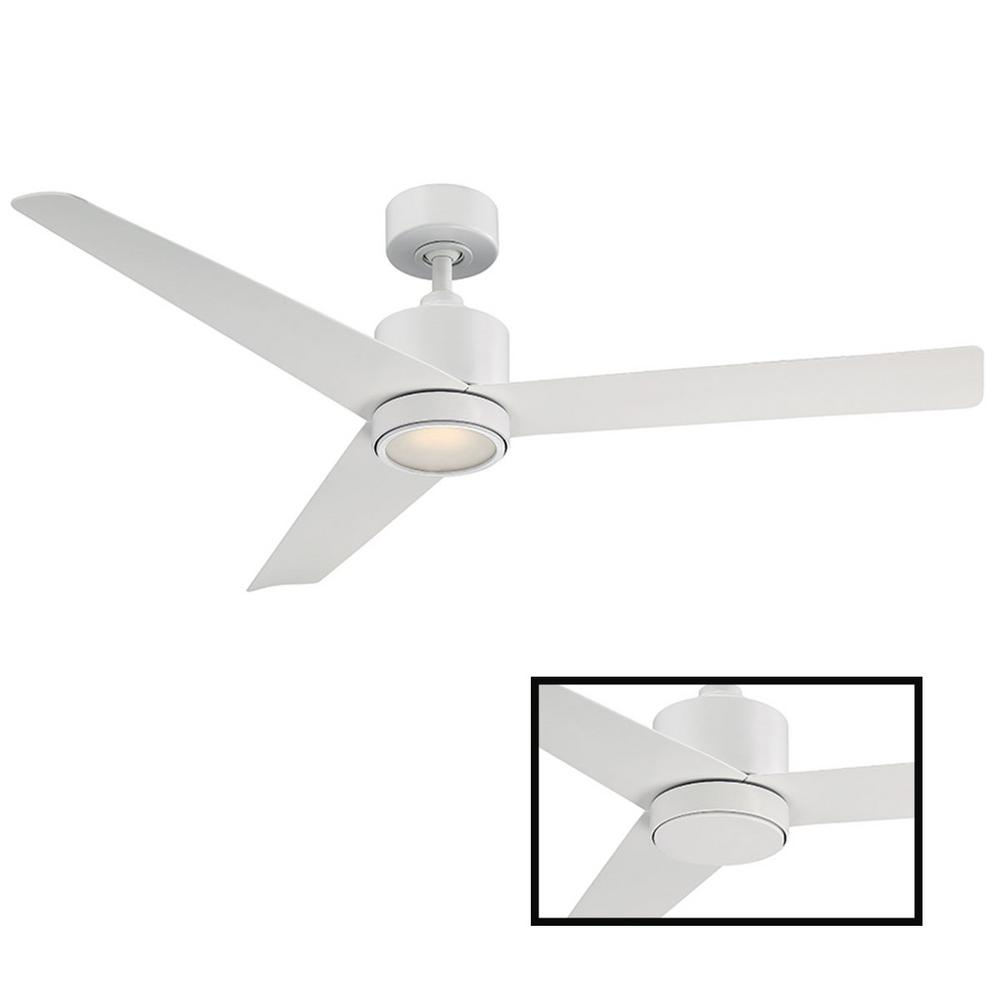 Modern Forms Lotus 54in Indoor and Outdoor 3 Blade Smart Ceiling Fan in  Matte White with 3000K LED Light Kit