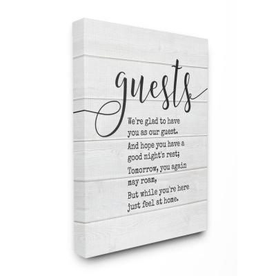 """30 in. x 40 in. """"Guests Feel At Home"""" by Lettered and Lined Printed Canvas Wall Art"""