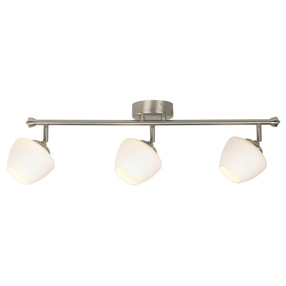hamptonbay Hampton Bay 3-Light LED White Directional Track Lighting Fixture with Glass Shade