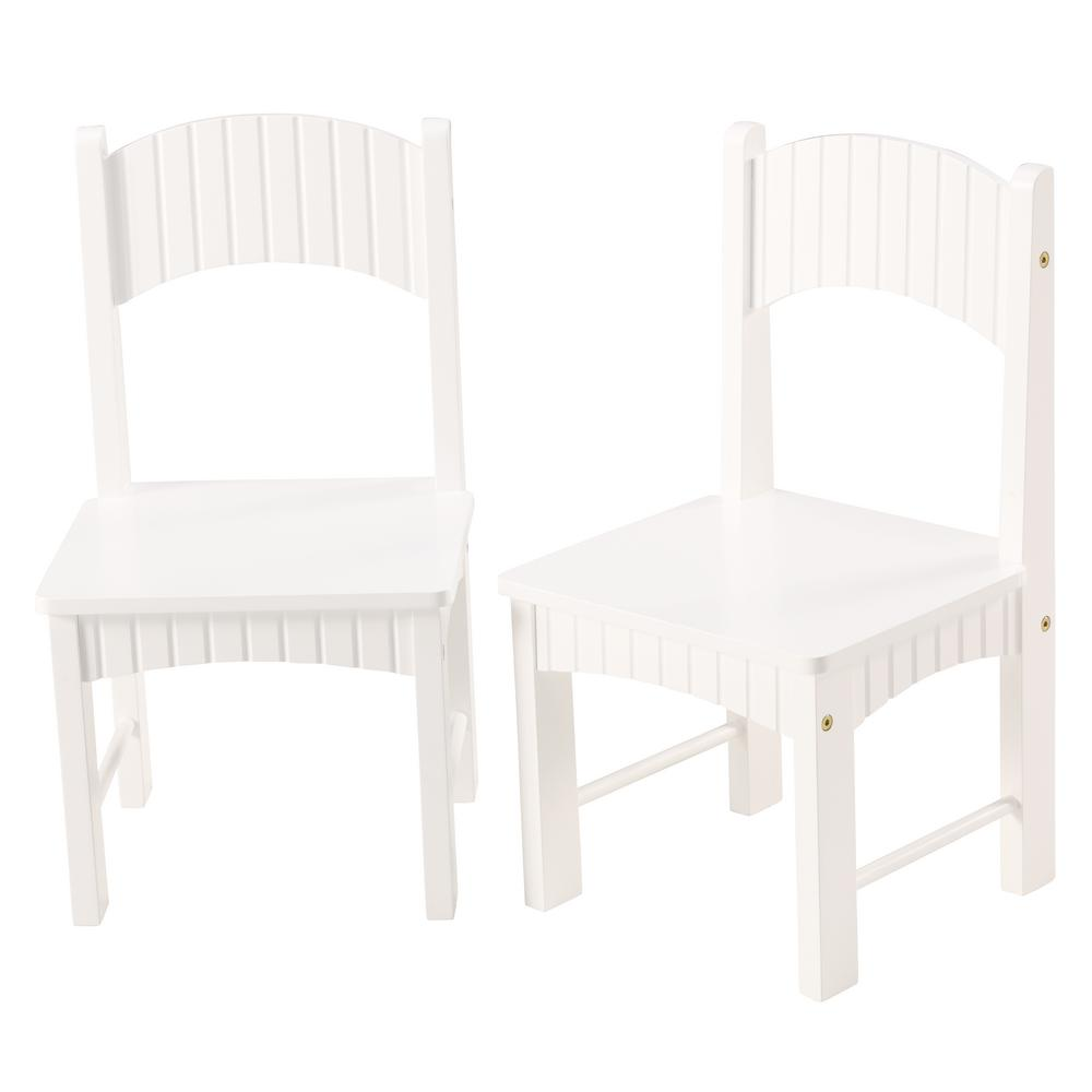 Linon Home Decor Hurley White Set Of Two Wooden Kid Chairs Thd00745