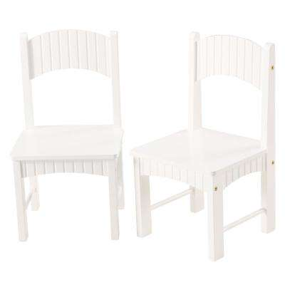 Hurley White Set of Two Wooden Kid Chairs
