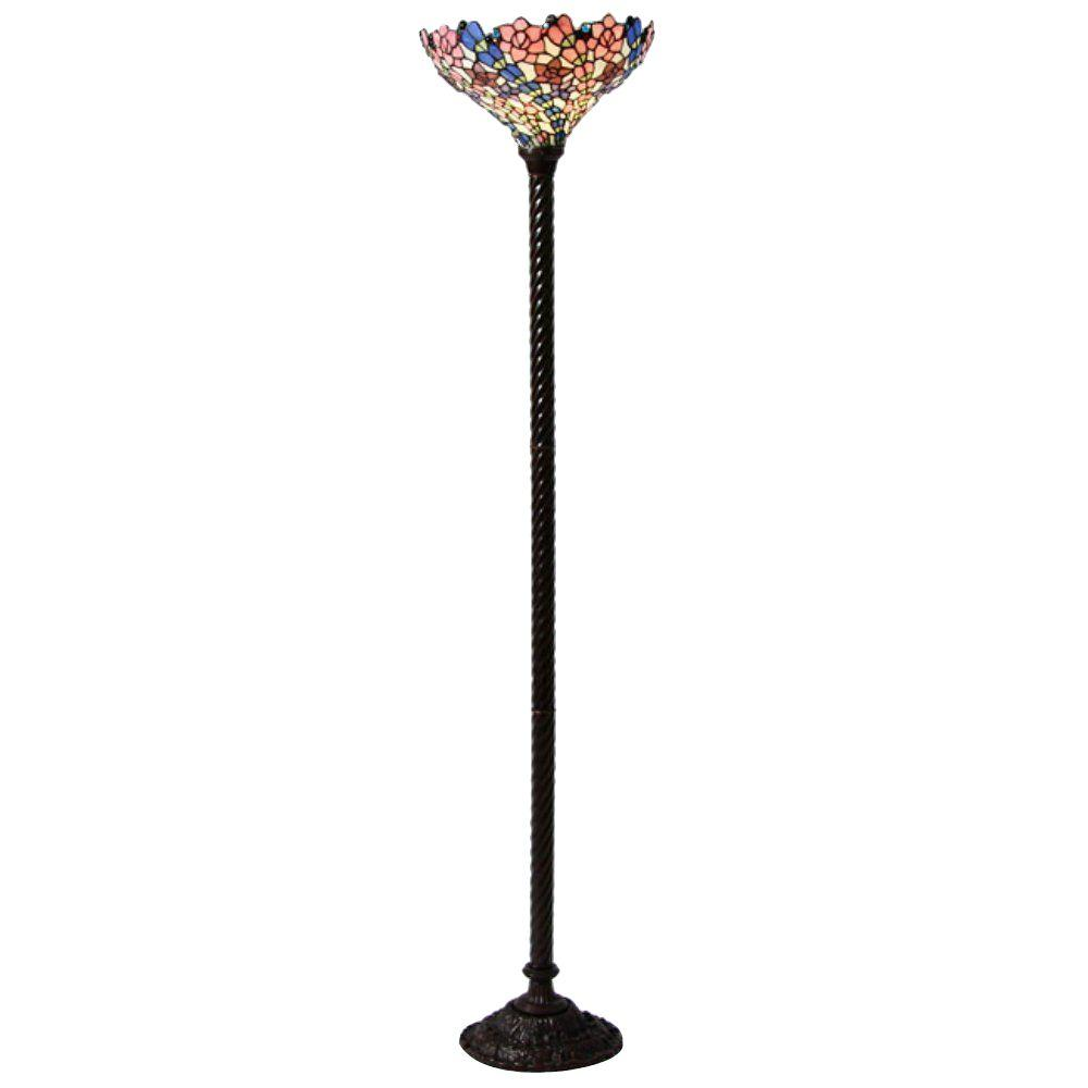 72 in. Antique Bronze Flower Stained Glass Floor Lamp with Foot