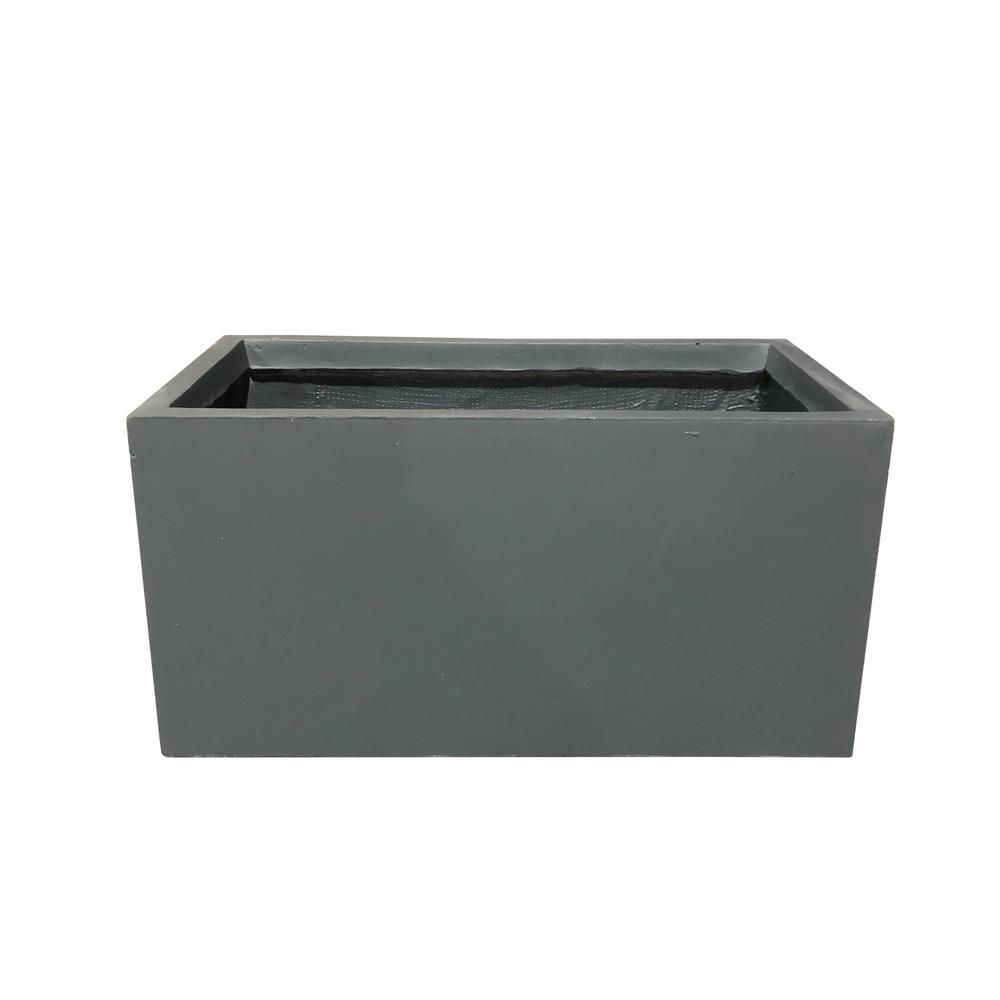 KANTE Small 23 in. L Charcoal Lightweight Concrete Modern Long Low Outdoor Planter