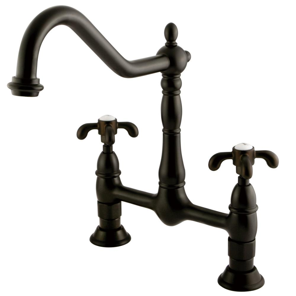 Kingston Brass Victorian 2 Handle Bridge Kitchen Faucet With Cross Handle  In Oil Rubbed Bronze HKS1175TX   The Home Depot