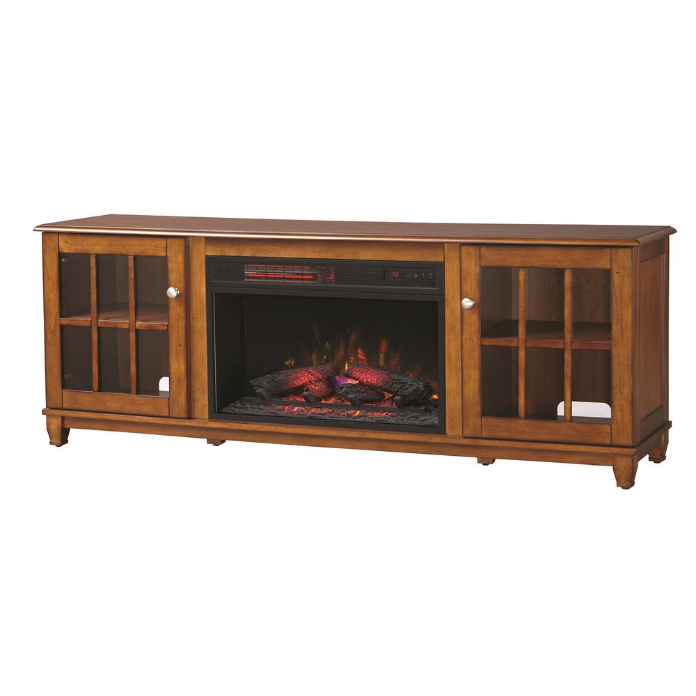 Home Decorators Collection Westcliff 66 in. Lowboy TV Stand Electric Fireplace in Chestnut