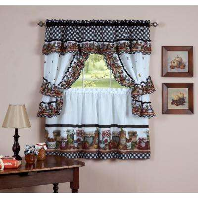 Sheer Mason Jars 24 in. L Polyester Window Curtain Set in Black and White