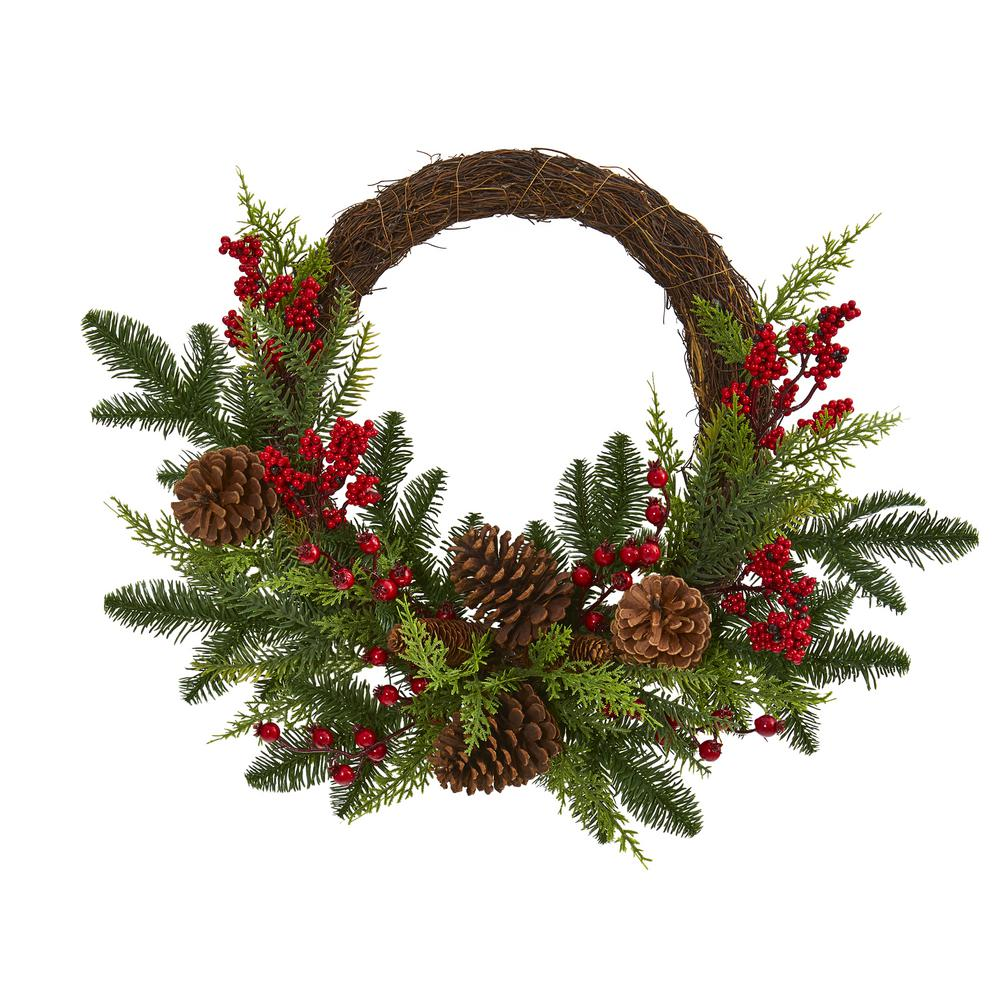 Nearly Natural 22 in. Mixed Pine and Cedar with Berries and Pine Cones Artificial Wreath Highlight your home with seasonal accenting with the help of this artificial wreath made from year-round evergreens and mixed pine foliage, beautifully highlighted throughout with realistic pinecones and bright red holly berries. Measuring 22 in. around, this silk wreath will easily evoke the holiday spirit wherever displayed. About Nearly Natural Inc. for over 75-years, Nearly Natural Inc. has been providing conscientious consumers with beautiful alternatives to natural decorations. Employed and advised by naturalists who understand the live plant world, Nearly Natural is able to recreate the most realistic-looking decorative items for homes, offices, and businesses. Driven by a true commitment to customer service, attention to detail, and natural philosophy, Nearly Natural strives to bring customers the most beautiful, unique, and striking faux plants and floral on the market.