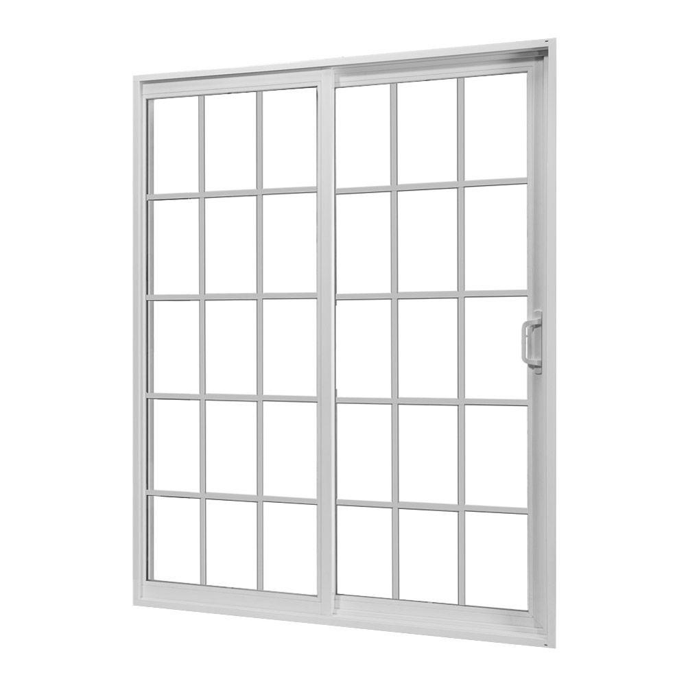 JELD-WEN 72 in. x 80 in. White Right-Hand Sliding Patio Door with Grid