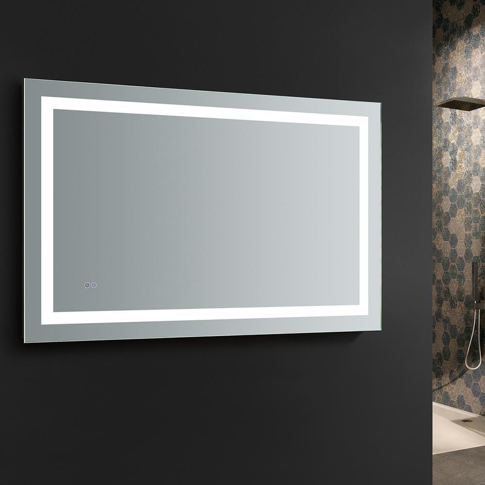 Fresca Santo 48 In W X 30 H Frameless Single Bathroom Mirror With Led Lighting And Defogger