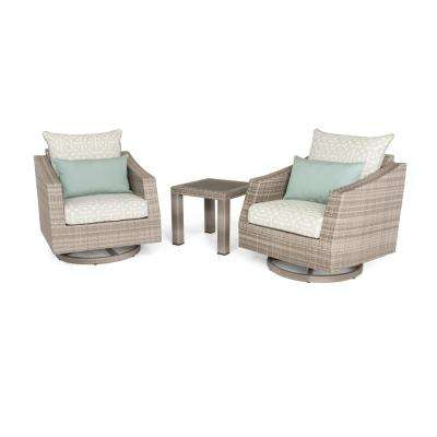 Cannes 3-Piece All-Weather Wicker Patio Deluxe Motion Club Chairs and Side Table Seating Set with Spa Blue Cushions