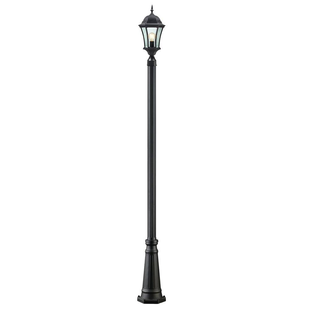 Lawrence 1-Light Black Classic Outdoor Lamp Post with Clear Beveled Glass