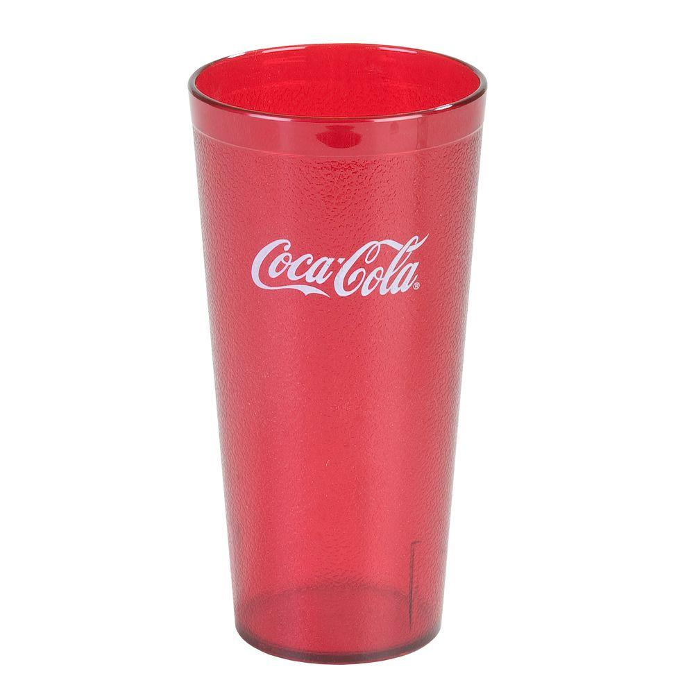 20 oz. SAN Plastic Stackable Tumbler in Ruby with Coca Cola