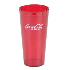 Carlisle 20 oz. SAN Plastic Stackable Tumbler in Ruby with Coca Cola logo imprint (Case of 72) by Carlisle