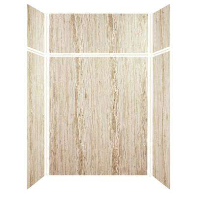Expressions 32 in. x 60 in. x 96 in. 4-Piece Easy Up Adhesive Alcove Shower Wall Surround in Sorento