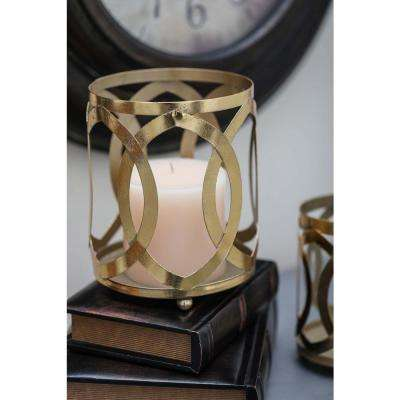 7 in. Gold Glass Mosaic Candle Lantern