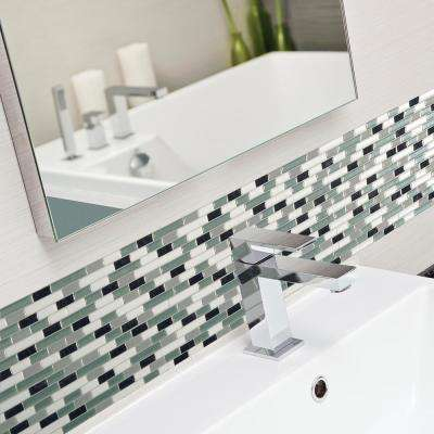 Muretto Prairies Approximately 3 in. W x 3 in. H Green, Blue and Gray Decorative Mosaic Wall Tile Backsplash Sample