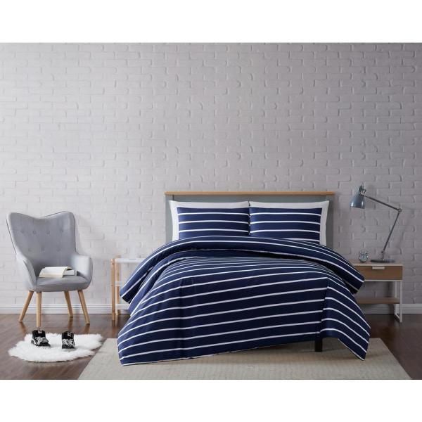 Truly Soft Maddow Stripe Navy King 3-Piece Duvet Cover Set