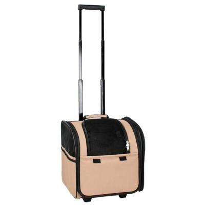 Brown Wheeled Travel Pet Carrier with Side Pouch and Leash Holder - 1-Size