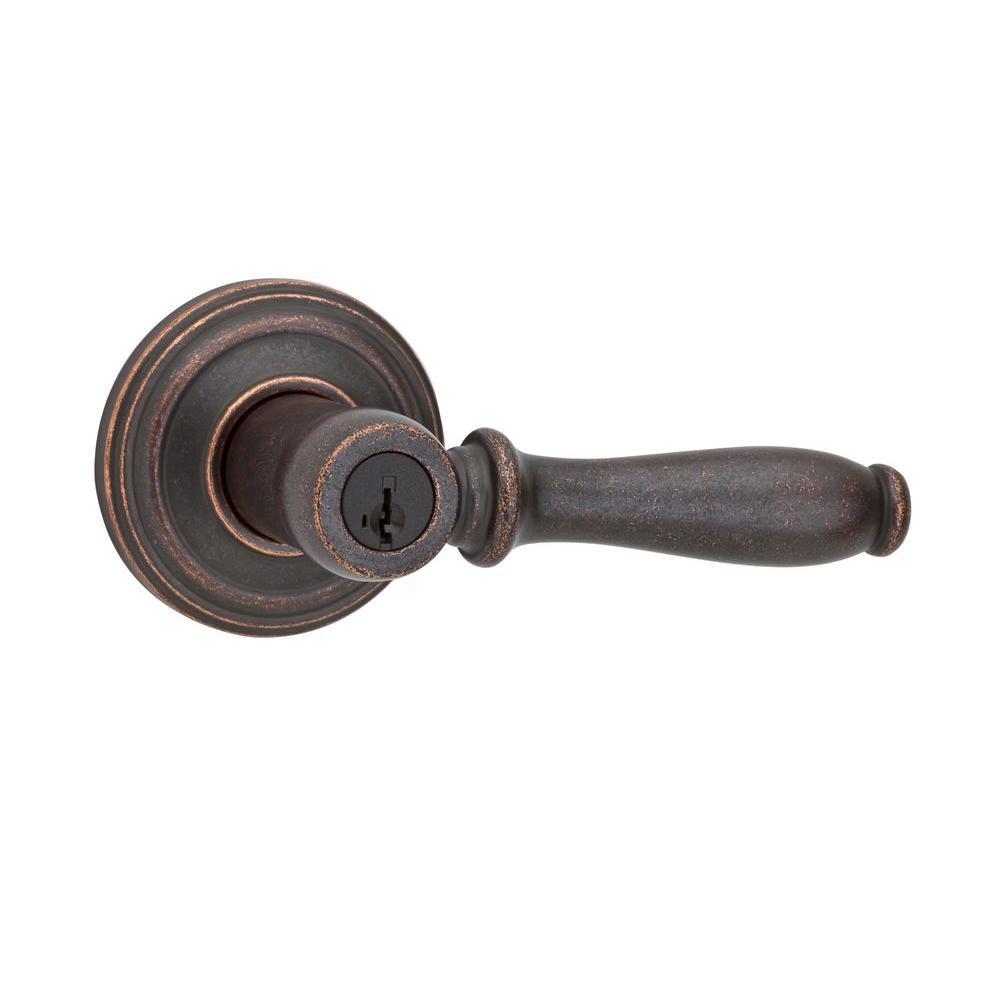 Kwikset Ashfield Venetian Bronze Entry Lever featuring SmartKey
