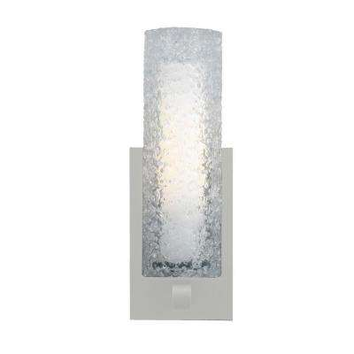 Mini-Rock Candy Cylinder 1-Light Satin Nickel Halogen Wall Light with Clear Shade