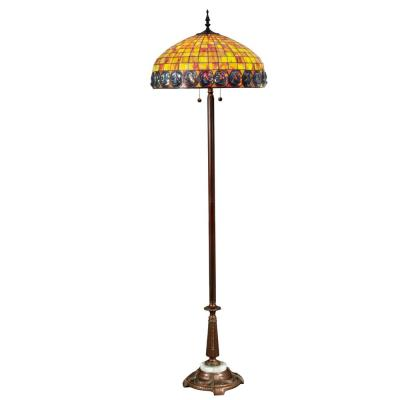 Orange Turtleback 70 in. Antique Bronze Floor/Torchiere Lamp with Hand Rolled Art Glass Shade