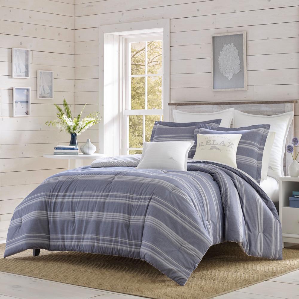 Chambray Stripe 3-Piece Full/Queen Comforter Set