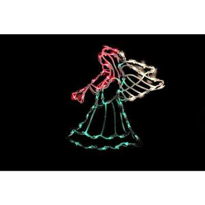 18 in. Lighted Angel Christmas Window Silhouette Decoration