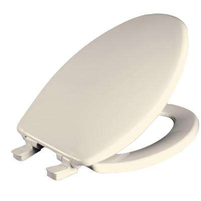 Whisper Close Elongated Closed Front Toilet Seat in Biscuit