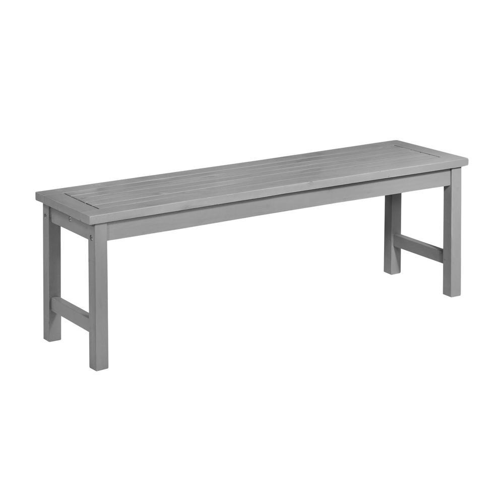 Walker Edison Furniture Company Boardwalk Grey Wash Acacia Wood Outdoor Bench