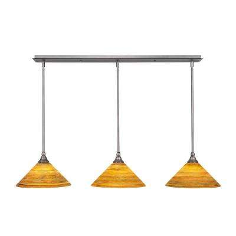 3-Light Brushed Nickel Island Pendant with Orange Marbleized Glass