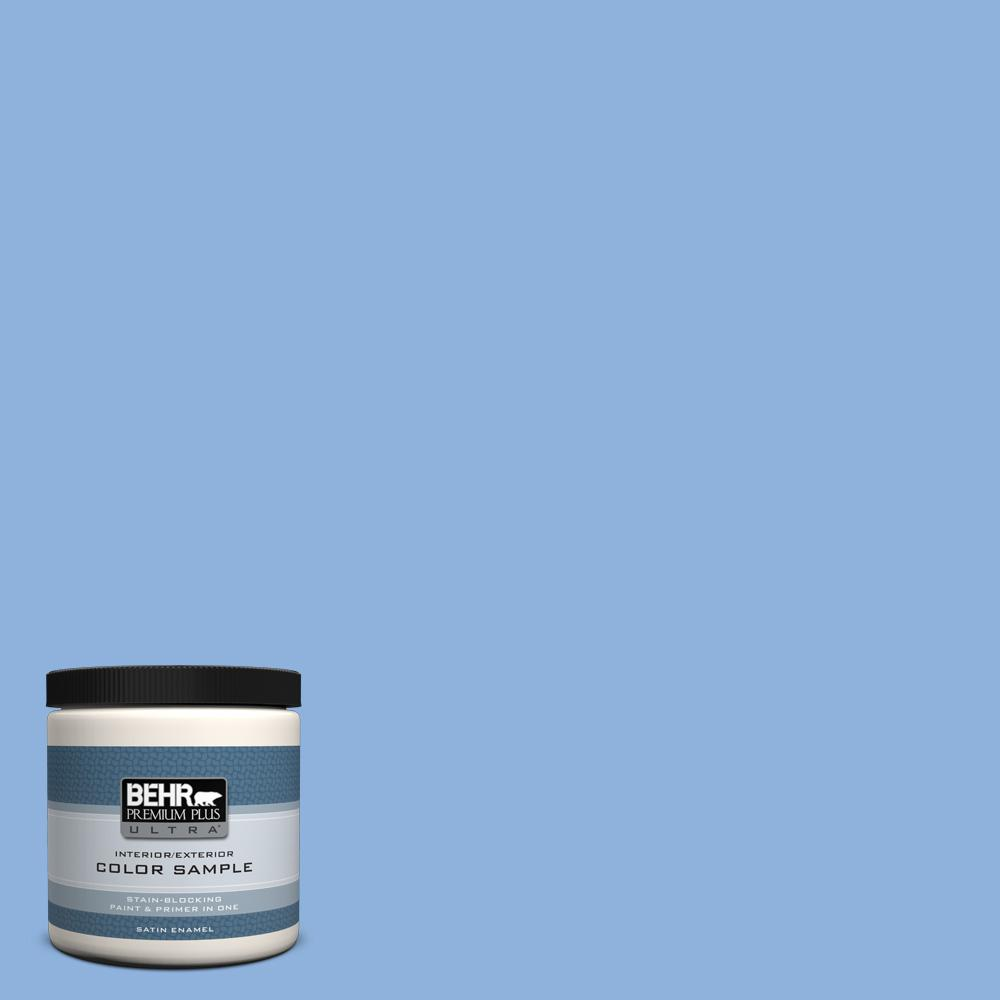 580b 5 Cornflower Blue Satin Enamel Interior Exterior Paint And Primer In One Sample