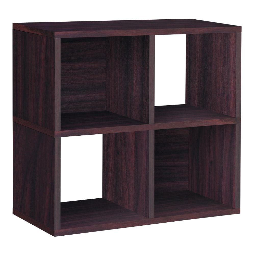 Way Basics Quad 4-Cubby 12 x 26.4 x 24.8 zBoard  Stackable Bookcase, Tool-Free Assembly Storage Shelf in Espresso Grain