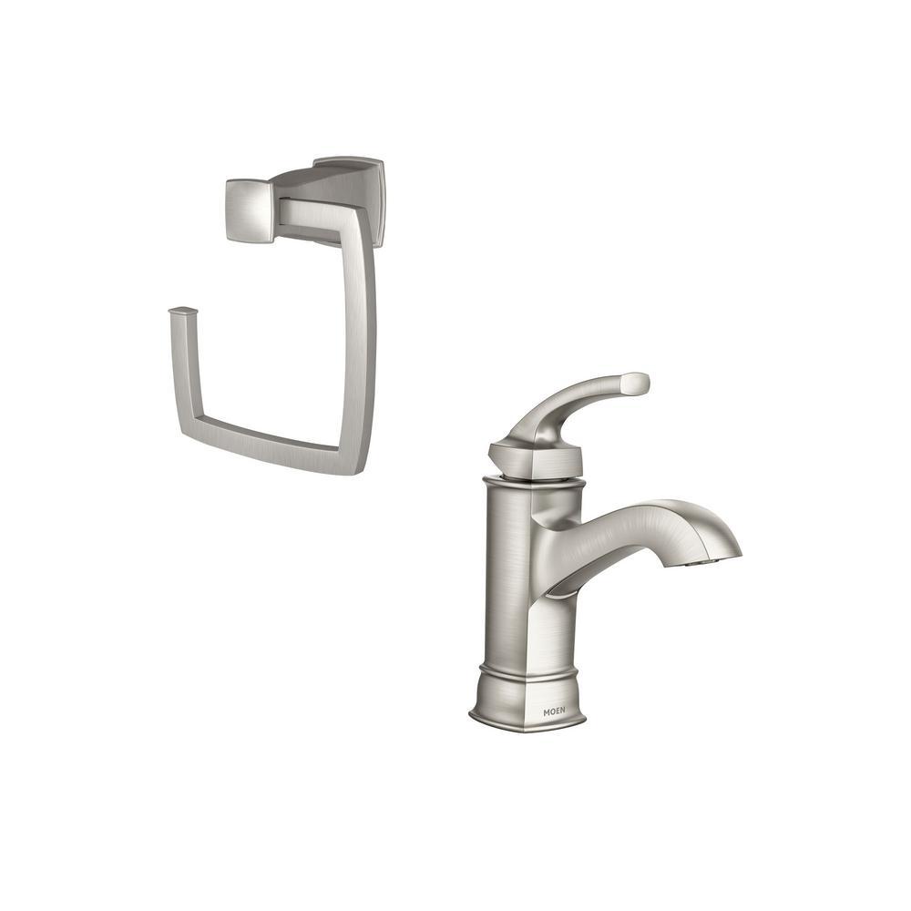 Moen Genta Single Hole Single Handle Bathroom Faucet With 4 Piece Bath Hardware Set In Spot