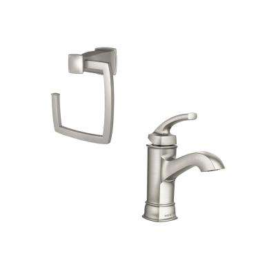 Hensley Single Hole 1-Handle Bathroom Faucet with Towel Ring in Spot Resist Brushed Nickel
