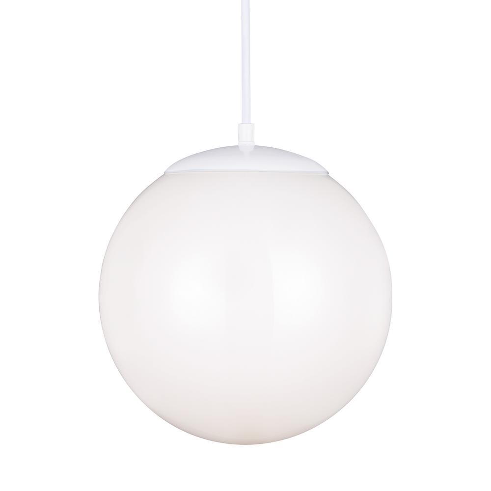 Hanging Globe 1-Light White Pendant with LED Bulb