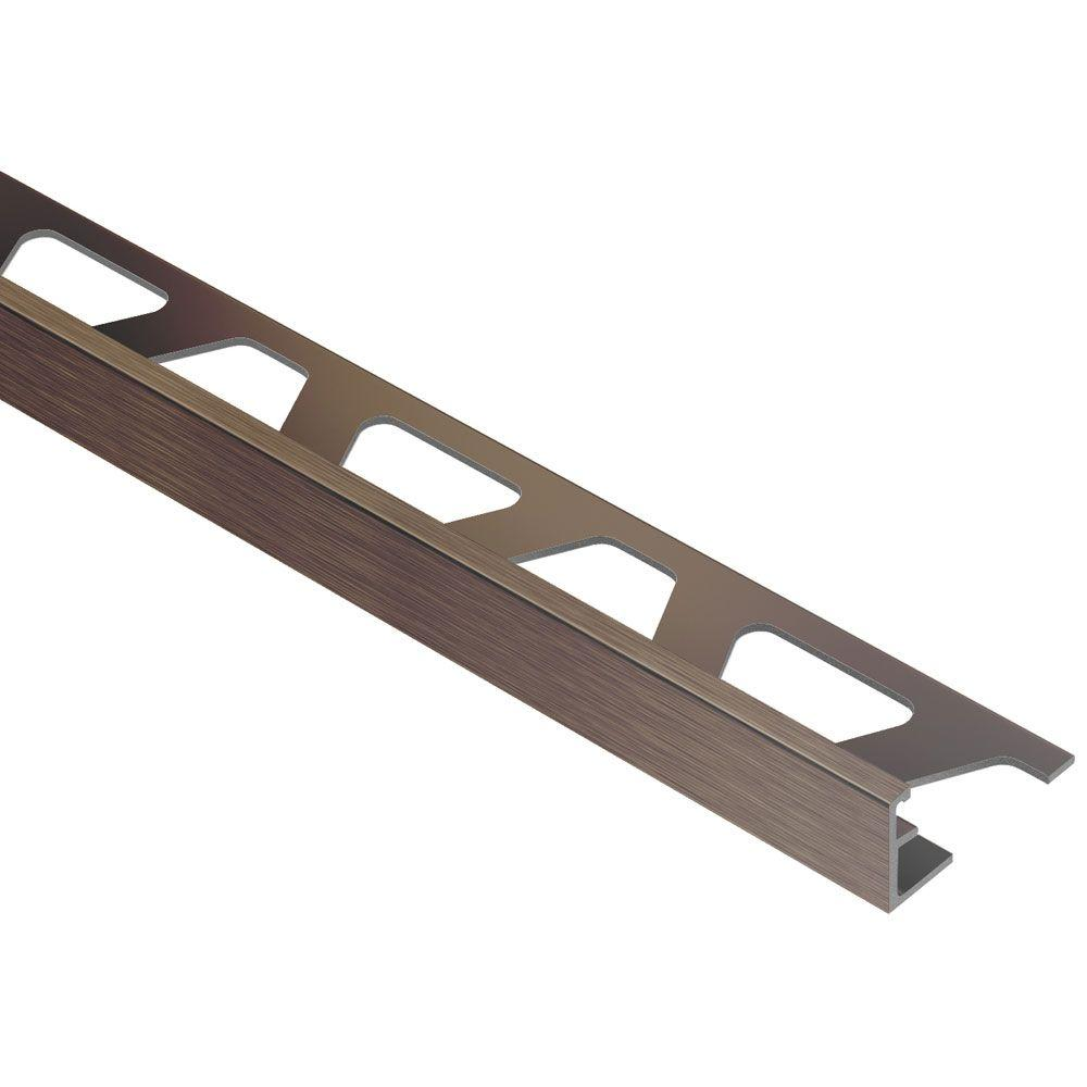 Jolly Brushed Antique Bronze Anodized Aluminum 5 16 In X 8 Ft 2 1 Metal Tile Edging Trim