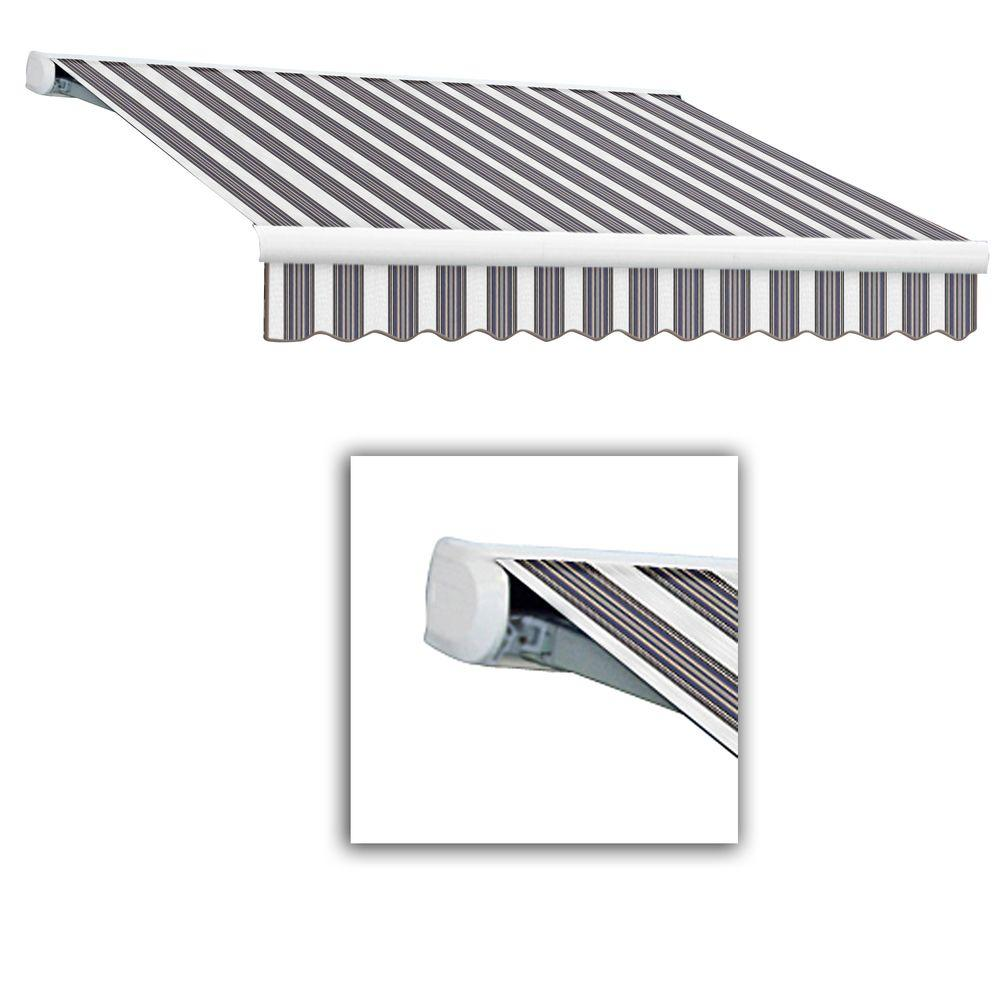 null 24 ft. Key West Full-Cassette Right Motor Retractable Awning with Remote (120 in. Projection) in Navy/Gray/White