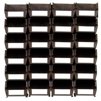 LocBin Small Wall Storage Bin (24-Piece) with 2-Wall Mount Rails in Brown