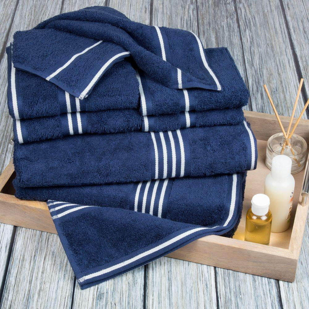 8 Piece Towel Set Egyptian 100 Cotton Striped Detail Bathroom Towels Navy